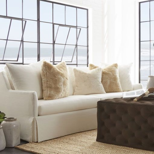 Barton White Linen Sofa @LaylaGrayce