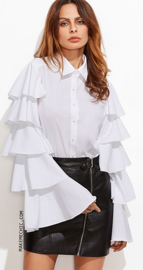 9c4067b0c31647 White Button Up Layered Bell Sleeve Blouse | MakeMeChic.COM | Make ...