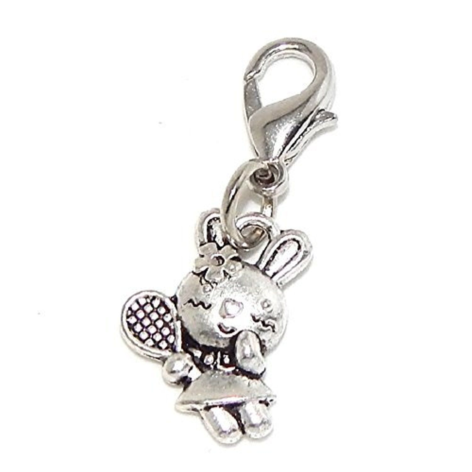 Silver Plated Dangling Clip-on Bunny with Tennis Racquet Bead Charm Pendant by Lobster Clasp Clip Charms -- Awesome products selected by Anna Churchill
