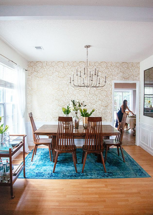Our Home Tour On Joss Main In Honor Of Design Dining Room Rug Home Decor Blue Rugs Living Room