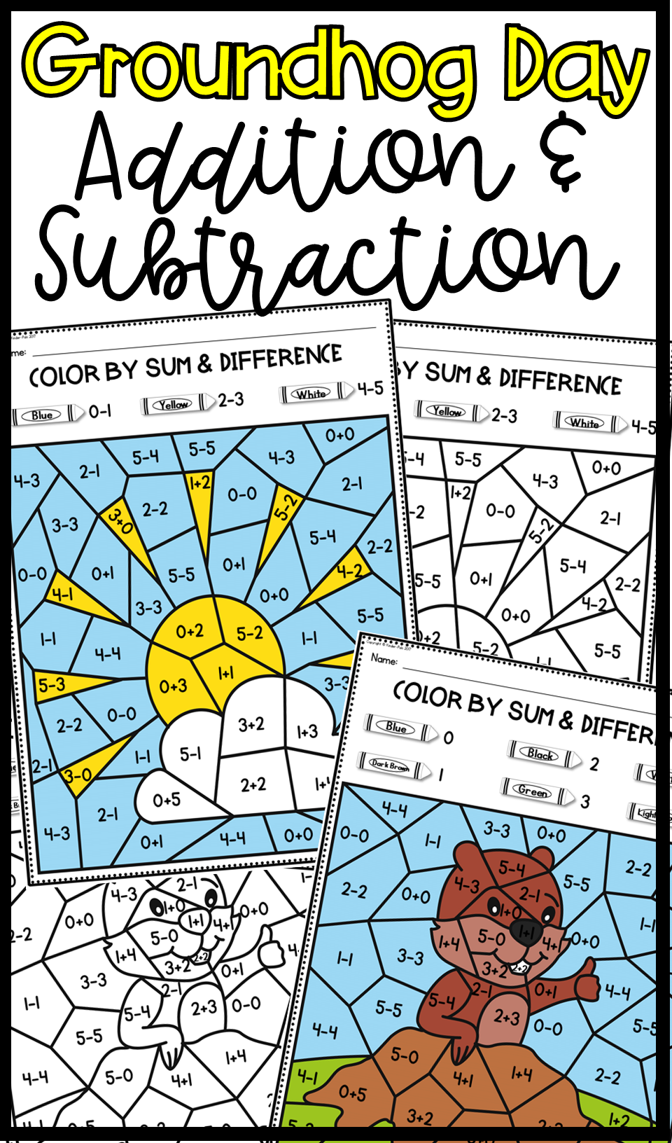 Groundhog Day- Addition and Subtraction | Kindergarten math, Math ...
