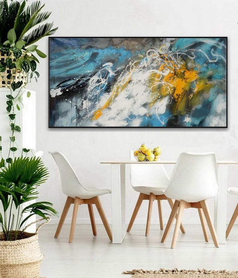 Large Colorful Panoramic Horizontal Abstract Framed Wall Art Etsy Texture Painting On Canvas Abstract Wall Art Modern Artwork