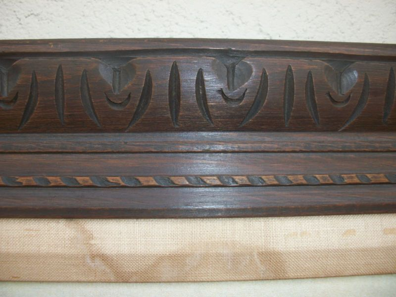 Vintage Carved Pine Wood Picture Frame W Walnut Stain Hecho In