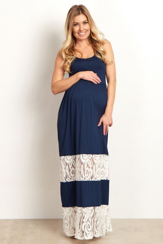 4cd9a04e2988 Navy Lace Colorblock Maternity Maxi Dress