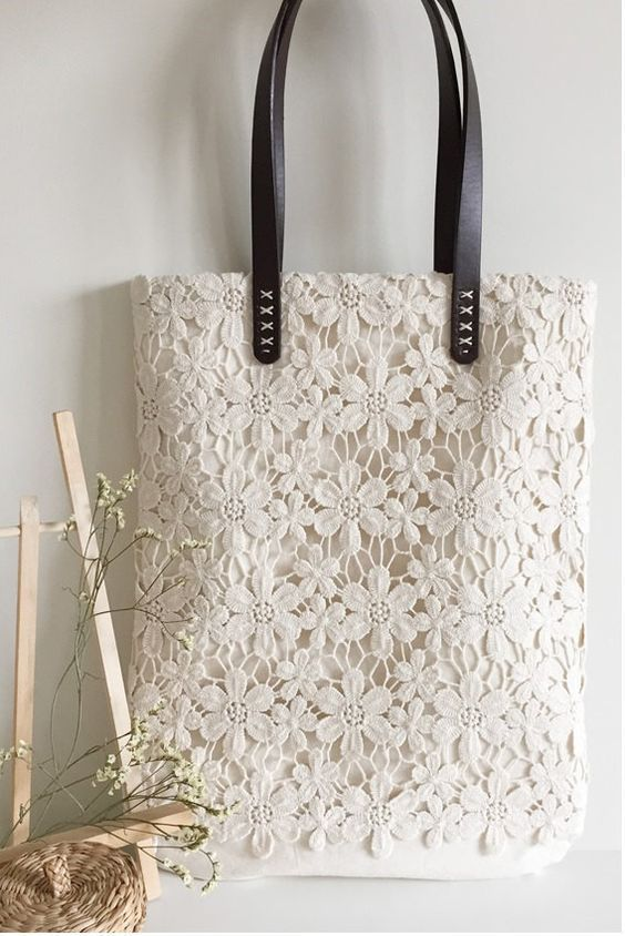 Handmade Shabby Chic Cotton Wedding Bag Lace Bag Lace Tote Vintage Style IvoryOff White Make to Order L004