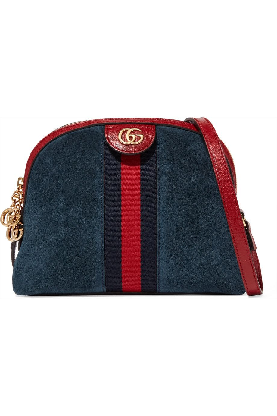 a61a065d6faa Gucci | Ophidia patent leather-trimmed suede shoulder bag | NET-A-PORTER.COM