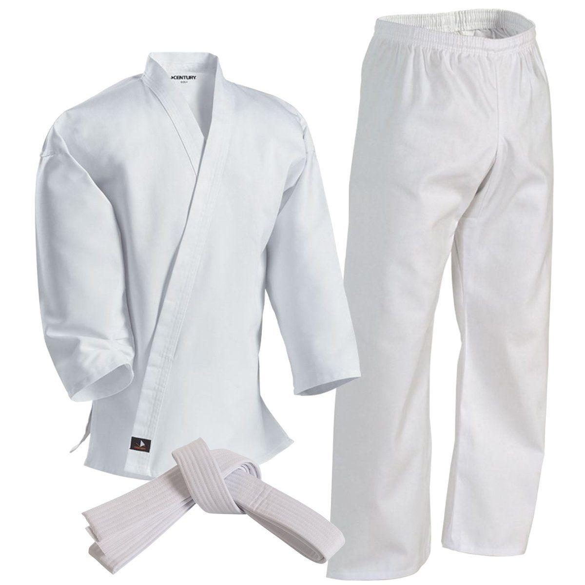 NEW Proforce Lightweight Karate Uniform Gi Pant White Black w// Belt Tae Kwon Do