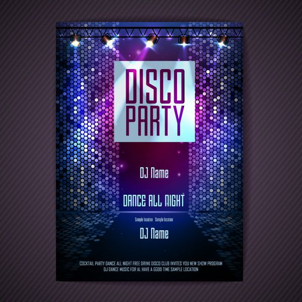 Disco Posters Vector Eps For Free Download Disco Party Party Poster Disco