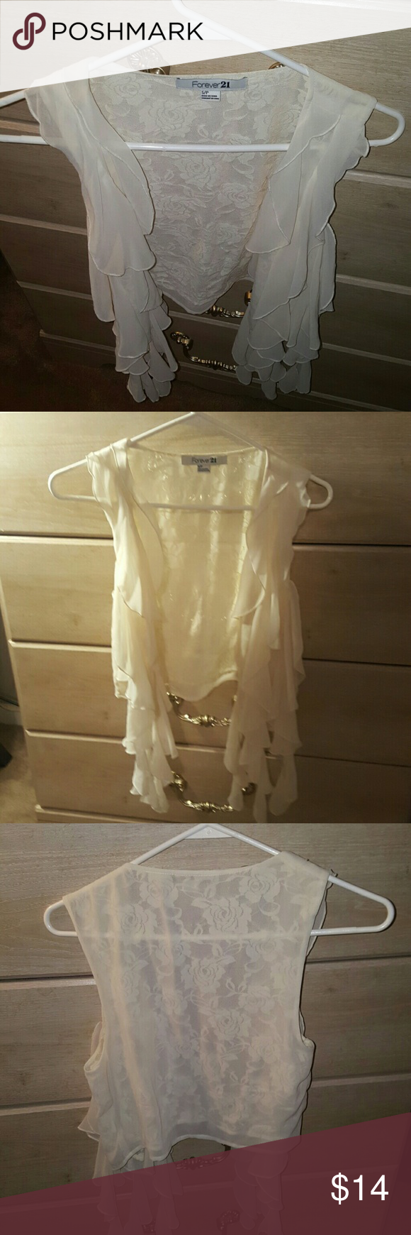 Forever 21 open vest with lace back. Cream colored Like new! Forever 21 Tops