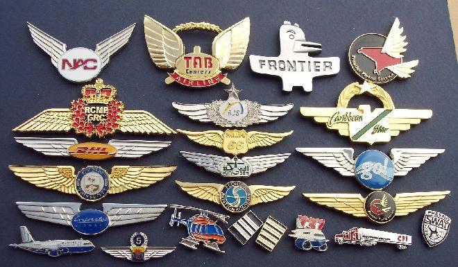 Pilot wings, flight crew insignia, cap badges, lapel pins