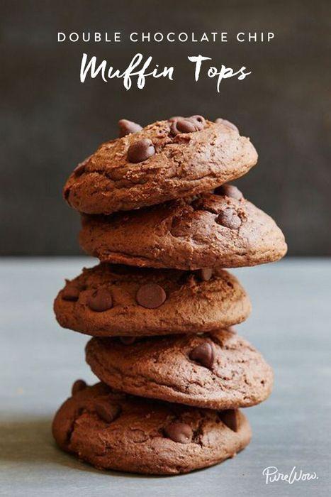 594c1bd822aab Double Chocolate Chip Muffin Tops via  PureWow via  PureWow