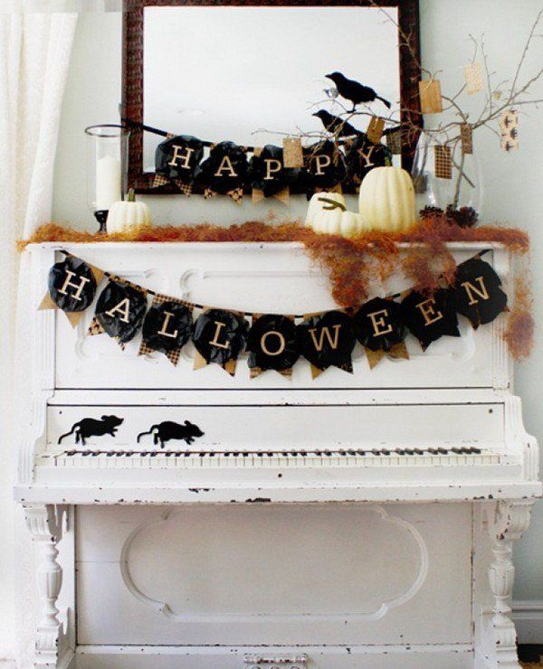 vintage halloween decoration ideas banner old piano mice silhouette