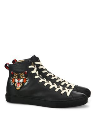 GUCCI Major Tiger Ufo Embroidered Leather High-Top Sneakers.  gucci  shoes   sneakers 2536dc9b79a