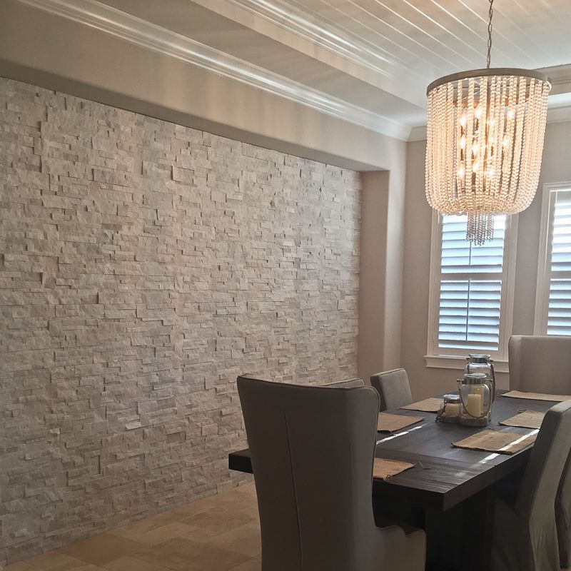 Dinning Room With Natural Stone Wall Panels Stacked Stone Format Panels Stone Walls Interior Stone Wall Interior Living Room Interior Wall Design #stone #wall #tiles #for #living #room