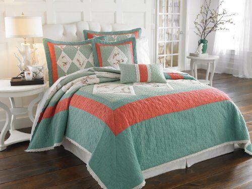 Good Salmon Colored Comfortors | Lenox Chirp Bedding And Bathroom Accessories
