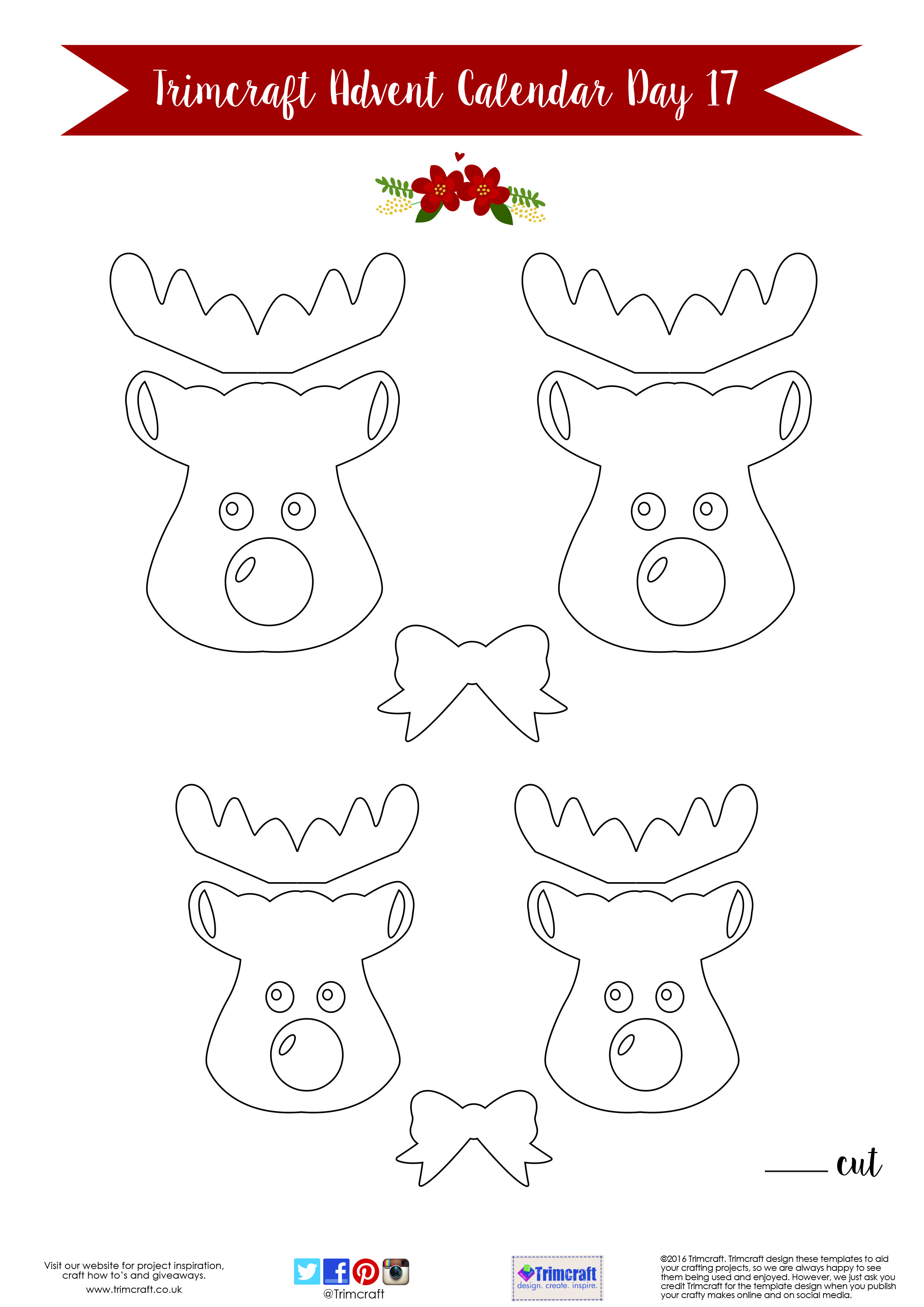 trimcraft advent calendar day 17 free printable reindeer tag
