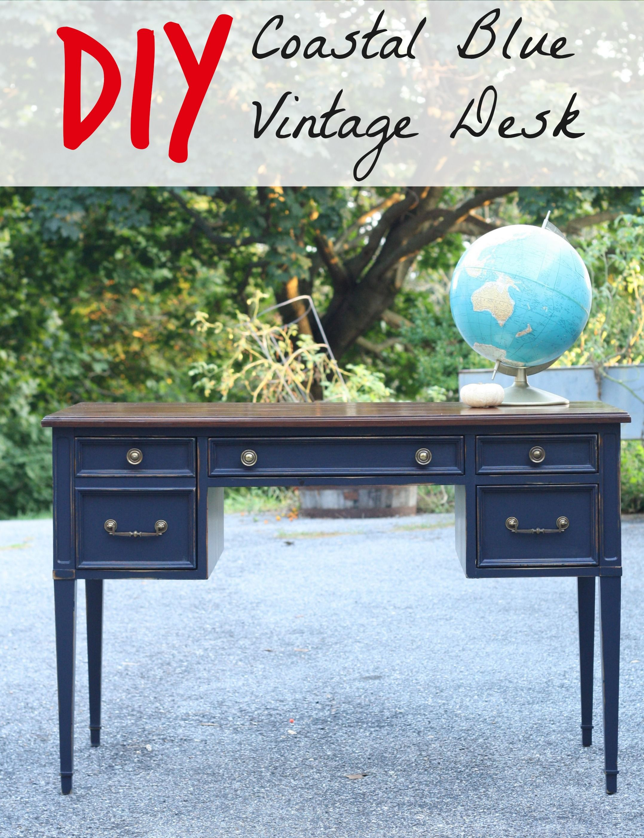Coastal Blue Desk With Java Gel Stain Top