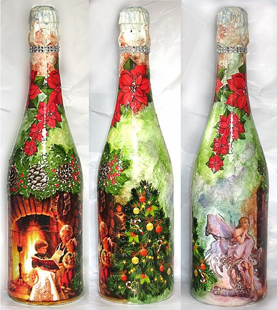 Decoupage champagne bottle for Botellas de vidrio decoradas para navidad