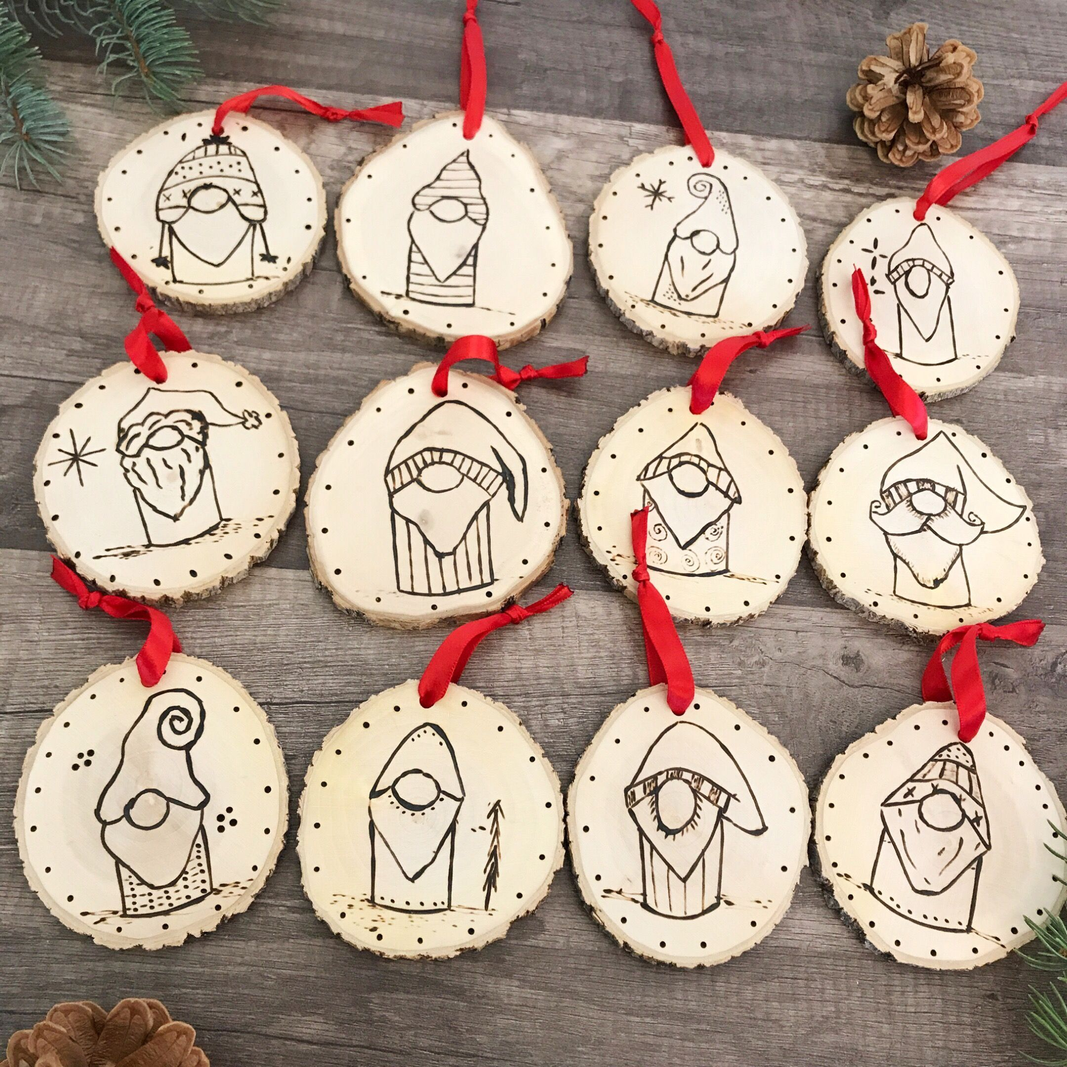 Wood Slice Gnome Ornaments Scandinavian Christmas Decor Tomte Gnome Ornaments Hand Burned Wood Slice Ornament Wood Christmas Ornaments Handmade Ornaments