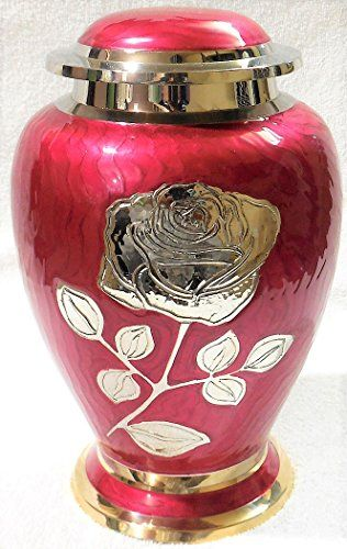 Funeral Urn with Large Flower on Lilac Purple Enamel Ansons Urns Silver Rose Cremation Urn 100/% Brass Burial Urn for Human Ashes Adult Size