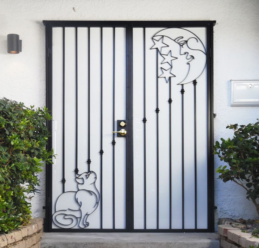 Cat moon wrought iron security double door fd0155 for Security screen doors for french doors