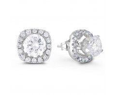 Diamond Earring Jackets Drop Earrings Silver Hoop
