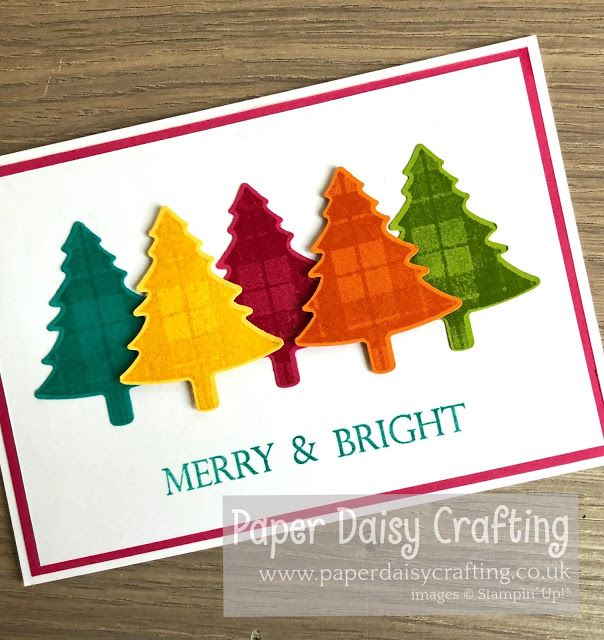 Rainbow Christmas Trees Stampin Up Perfectly Plaid Christmas Cards Handmade Diy Christmas Cards Christmas Tree Cards