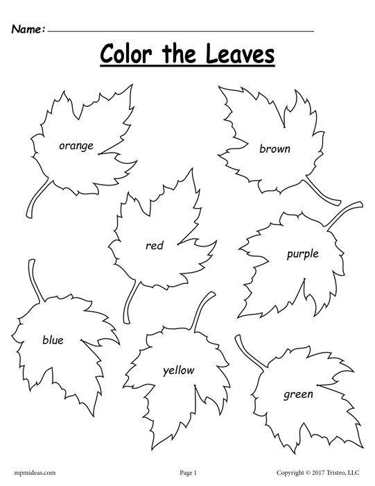 FREE Fall Leaf Color Words Worksheet