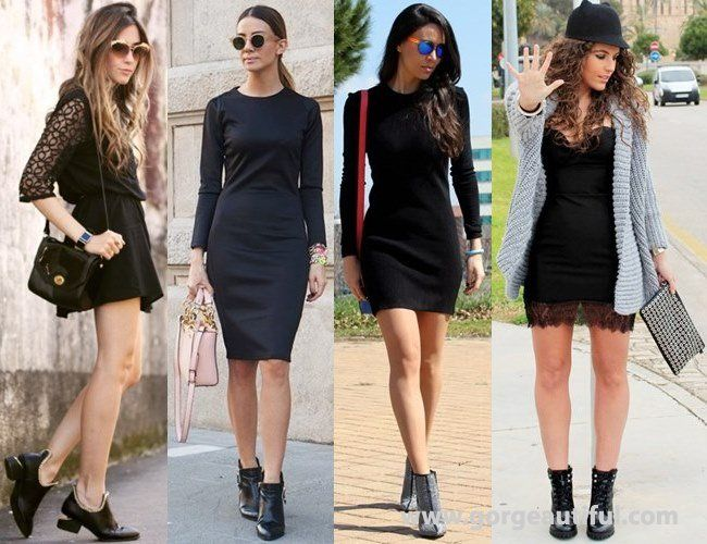 Little Black Dress with Ankle Boots | Christine Boots | Pinterest ...