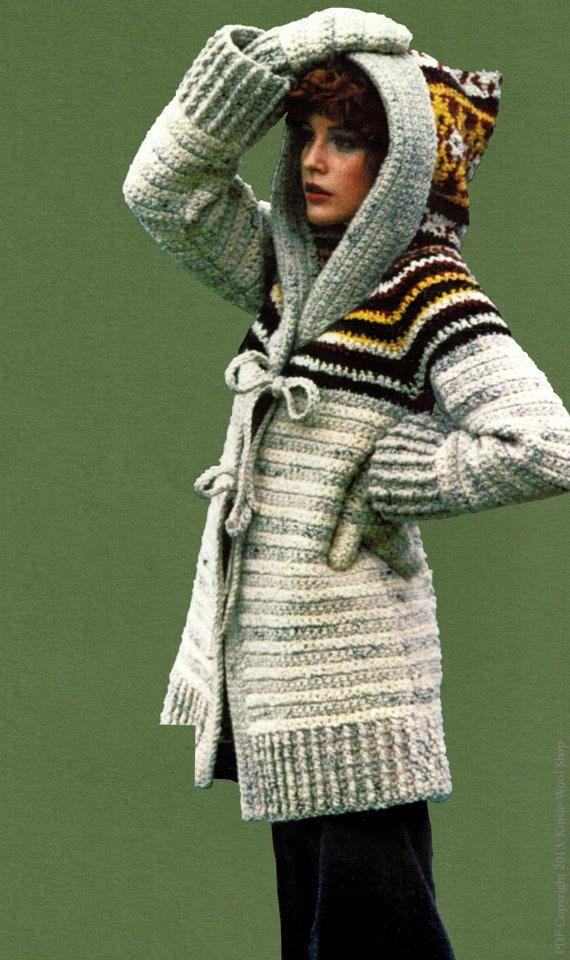 Crochet hooded sweater pattern vintage 70s sweater coat crochet pattern vintage 70s crochet hooded sweater coat mittens sweater set cardigan jacket instant dt1010fo