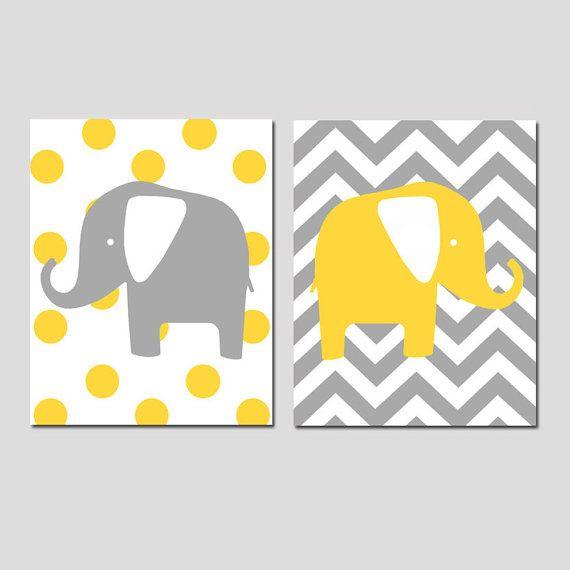 Modern Elephants Set of Two 8x10 Chevron Zig Zag Polka by Tessyla ...