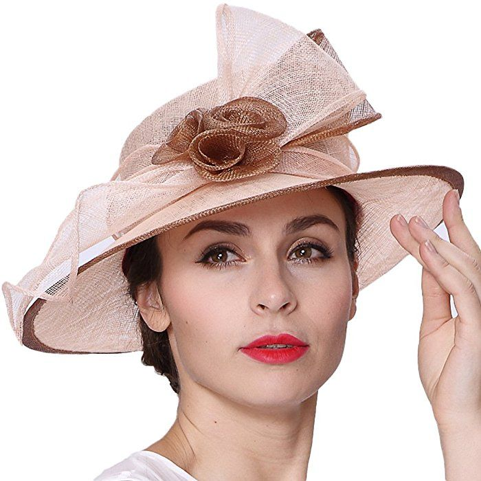 Koola s hats Lady Champagne Brown 3 Layers Sinamay Wedding Hats Summer Hat  Ascot Race Derby Hat at Amazon Women s Clothing store  c0975a56247e