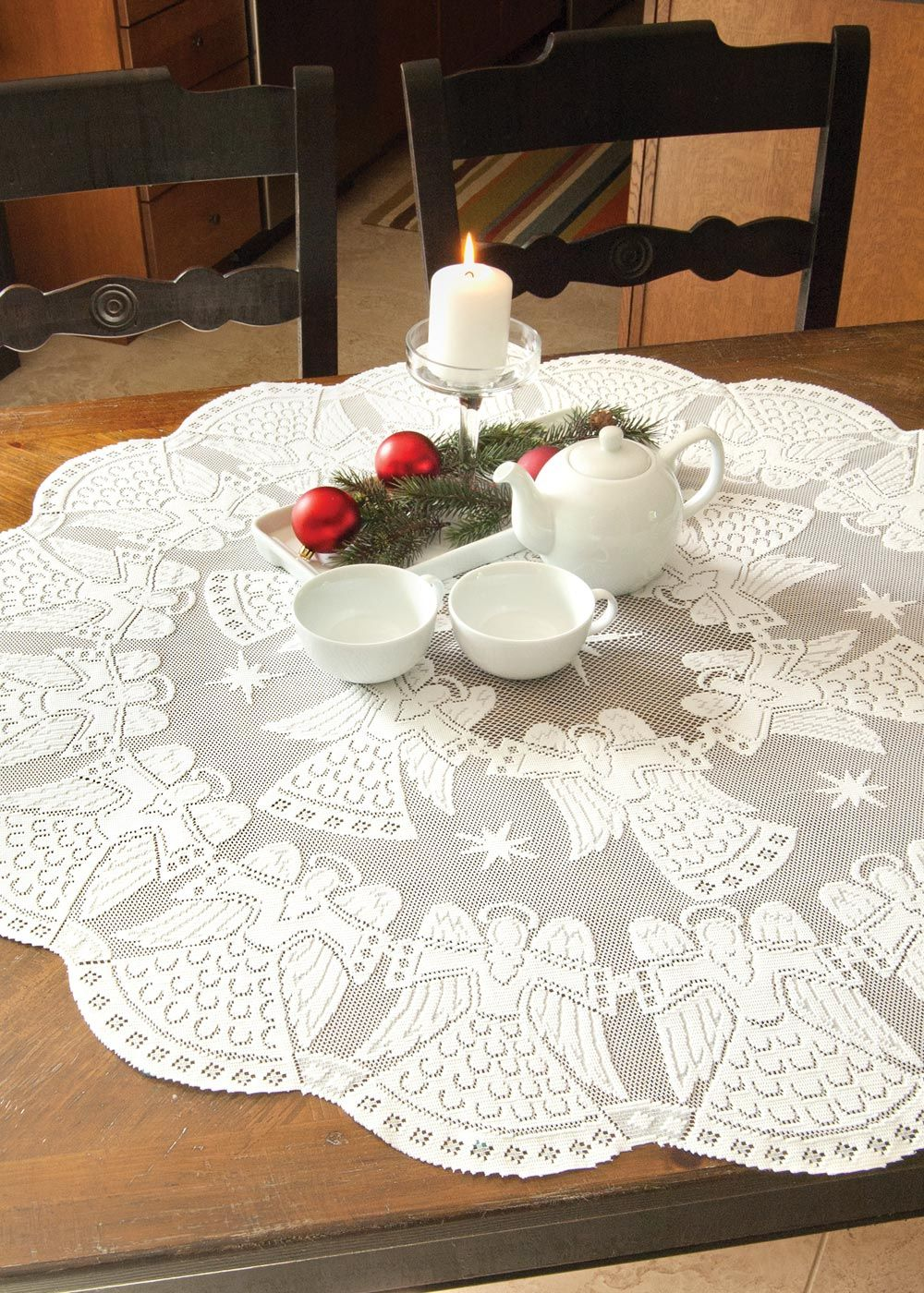 Glorious Angels Round Lace Table Topper! #Christmas #Decor #Party #Holiday  #winter