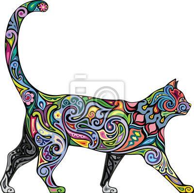 Sticker Cheerful Cat Dessin Anim 233 Sticker Mural