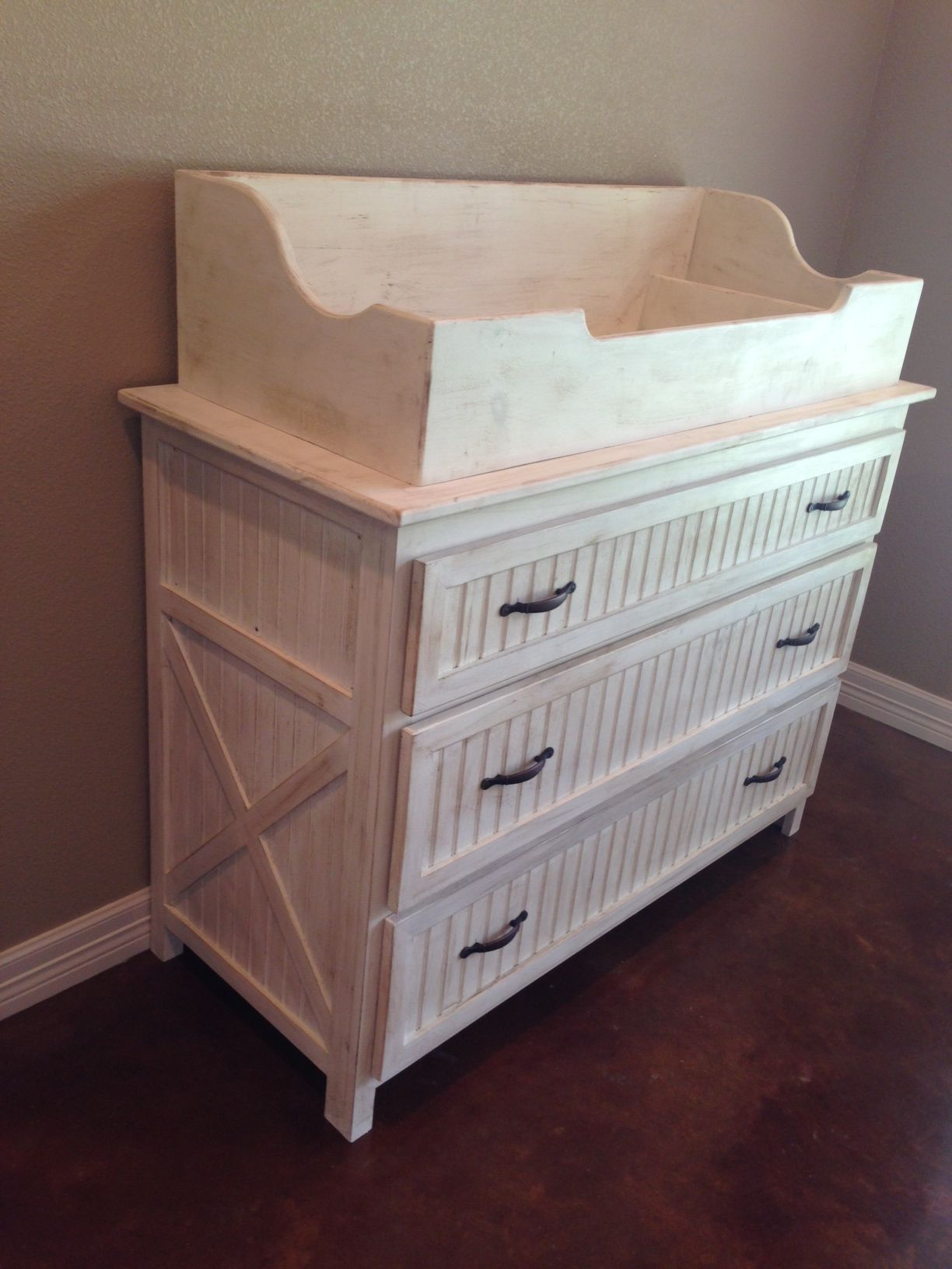 The Rustic Acre custom built changing table with dresser. Topper can ...