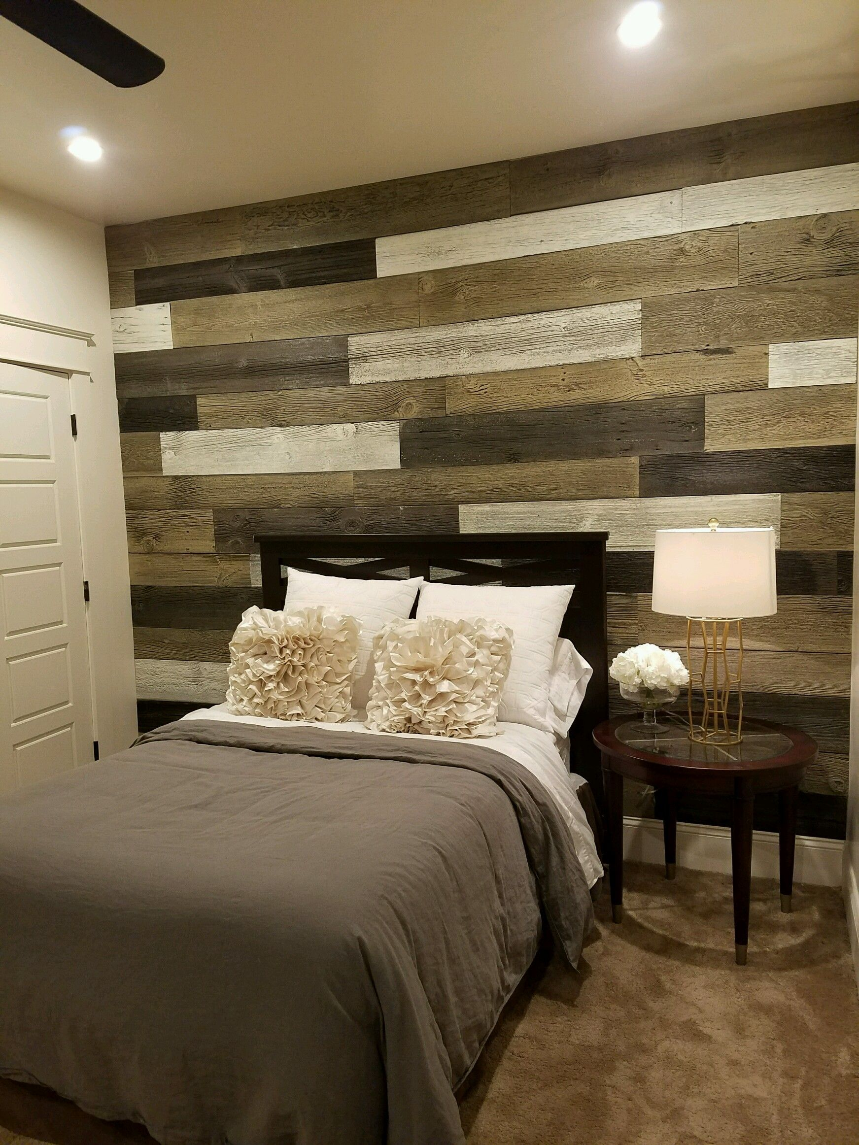 Bedroom Wood Accent Wall Using 3 Different Faux Logic Designs Colors Wood Accent Wall Bedroom Wood Accent Wall Wall Color Combination