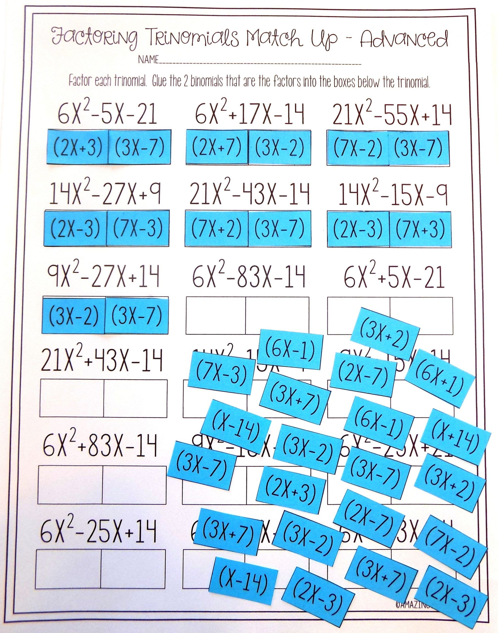 Factoring Trinomials Worksheet Answers Factoring Polynomials Trinomials Activity Advanced In 2020 Factoring Polynomials Factoring Trinomials Activity Polynomials