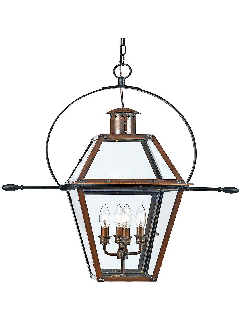 Rue De Royal Extra Large Hanging Lantern In Aged Copper Outdoor