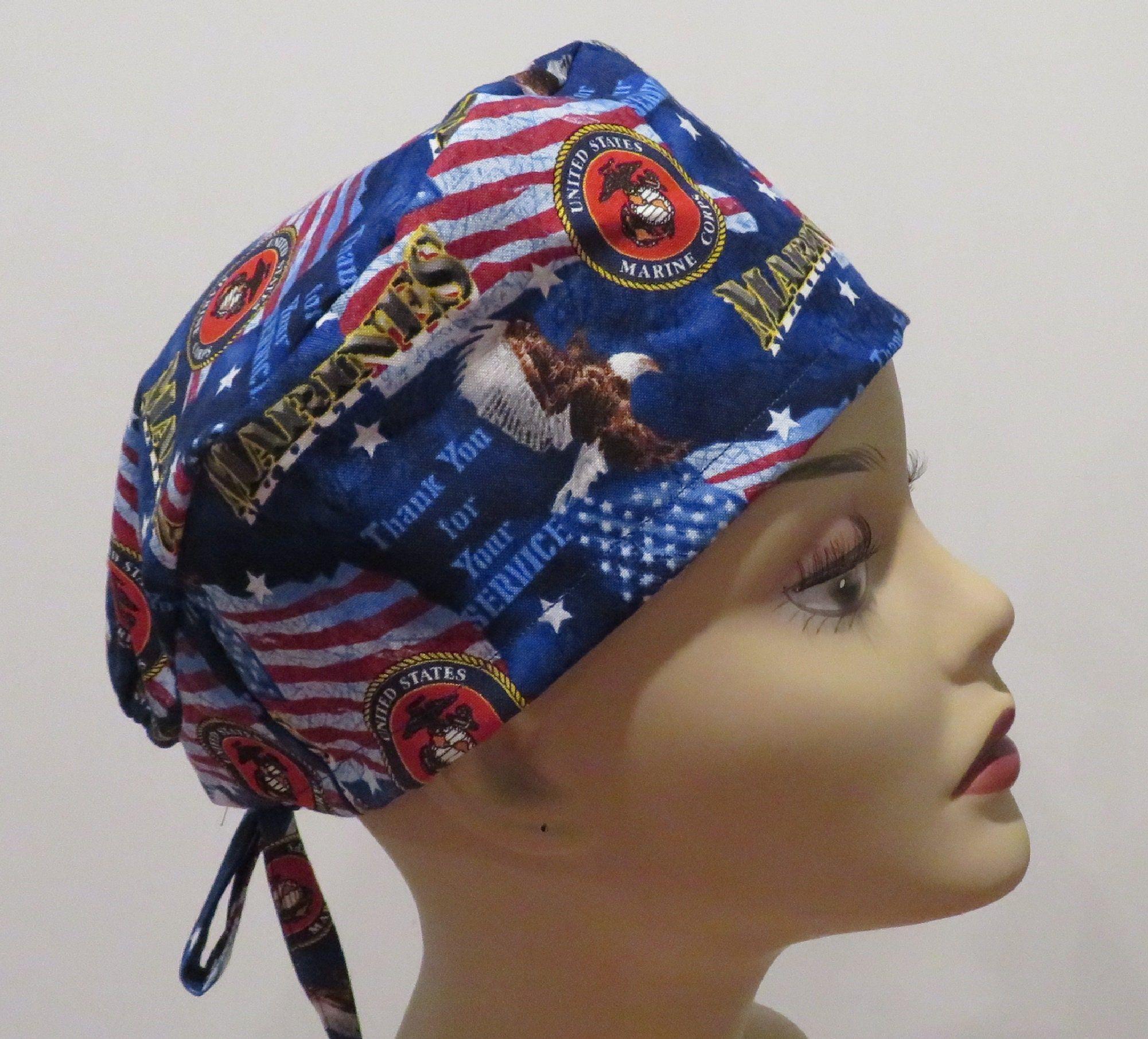 BRAVE fabric scrub hats, Tie back scrub hats, Skull scrub hats, Men scrub hats, Unisex scrub hats, Marines scrub hats, Patriotic hats