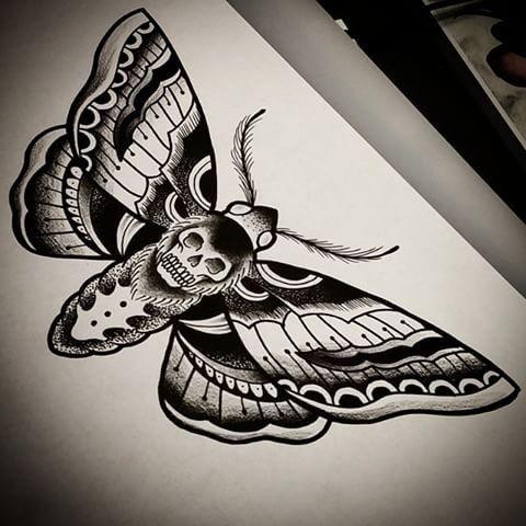 Traditional Black Dead Head Moth Tattoo Design Moth Tattoo Moth Tattoo Design Traditional Moth Tattoo