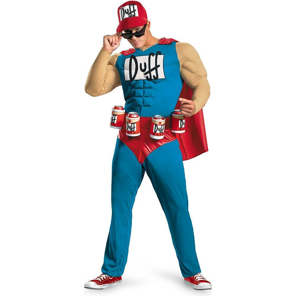The Simpsons Duffman Classic Muscle Costume - Adult, Men's, Size: 50-52, Blue