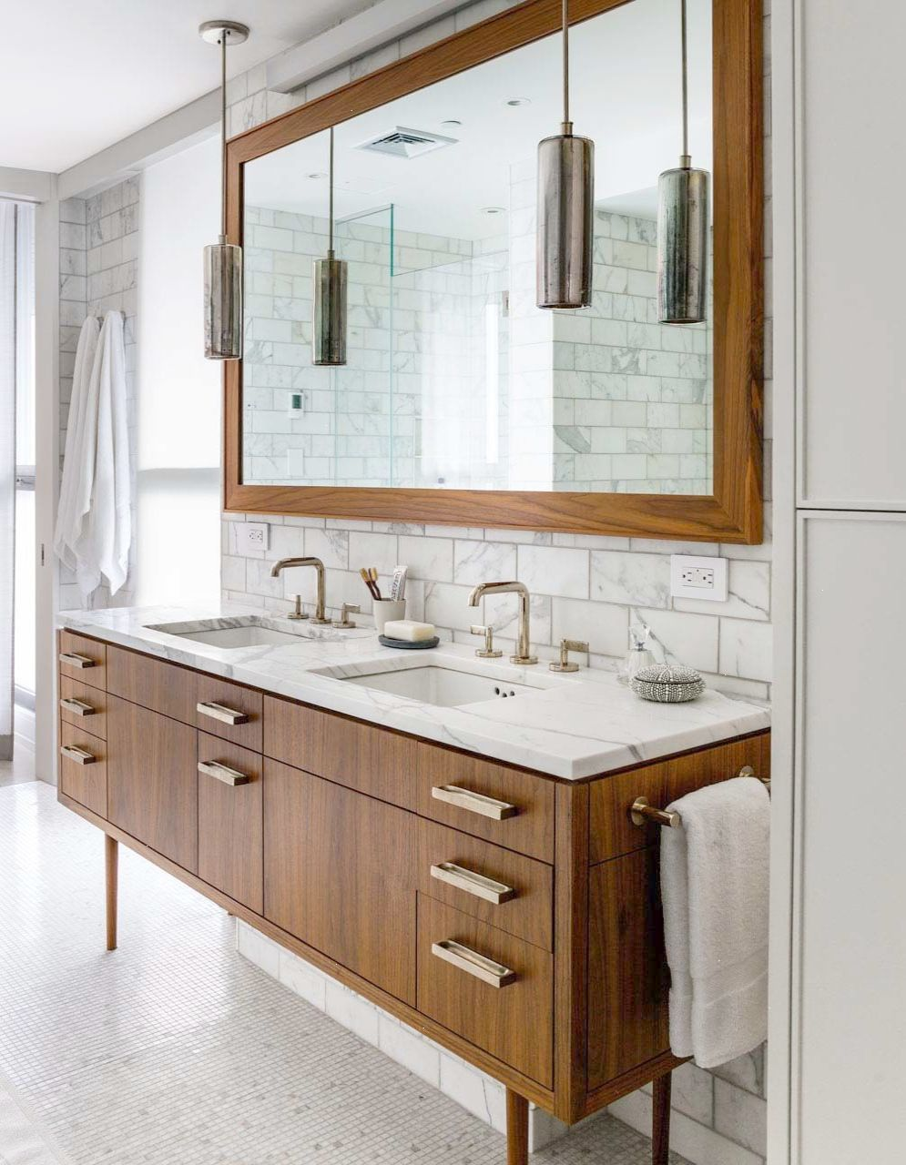 Midcentury style bathroom with marble and walnut. | MIDCENTURY ...
