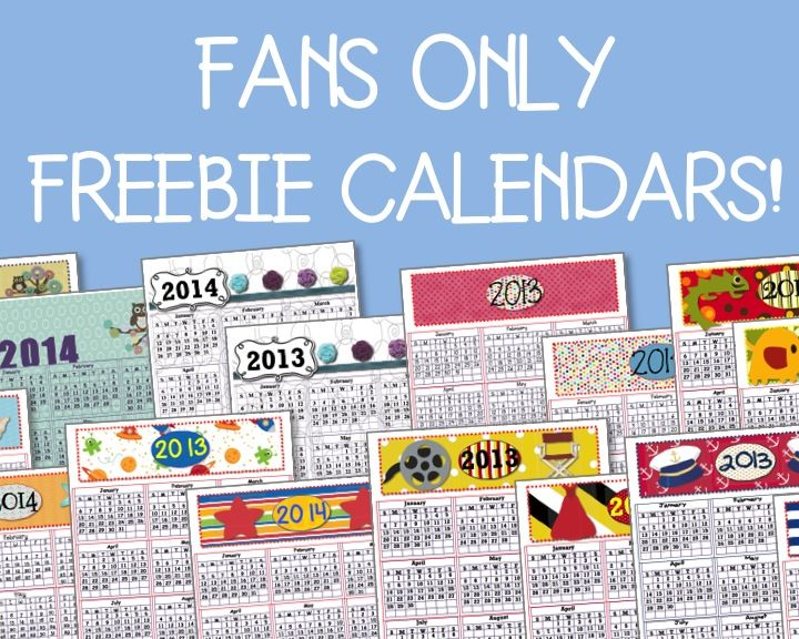 """FREE calendars ONLY for fans of Organized Classroom on Facebook!  Click on the link to """"like us"""" and grab your freebie pack!  {Note:  will not work on mobile-devices so please use a regular computer.}"""