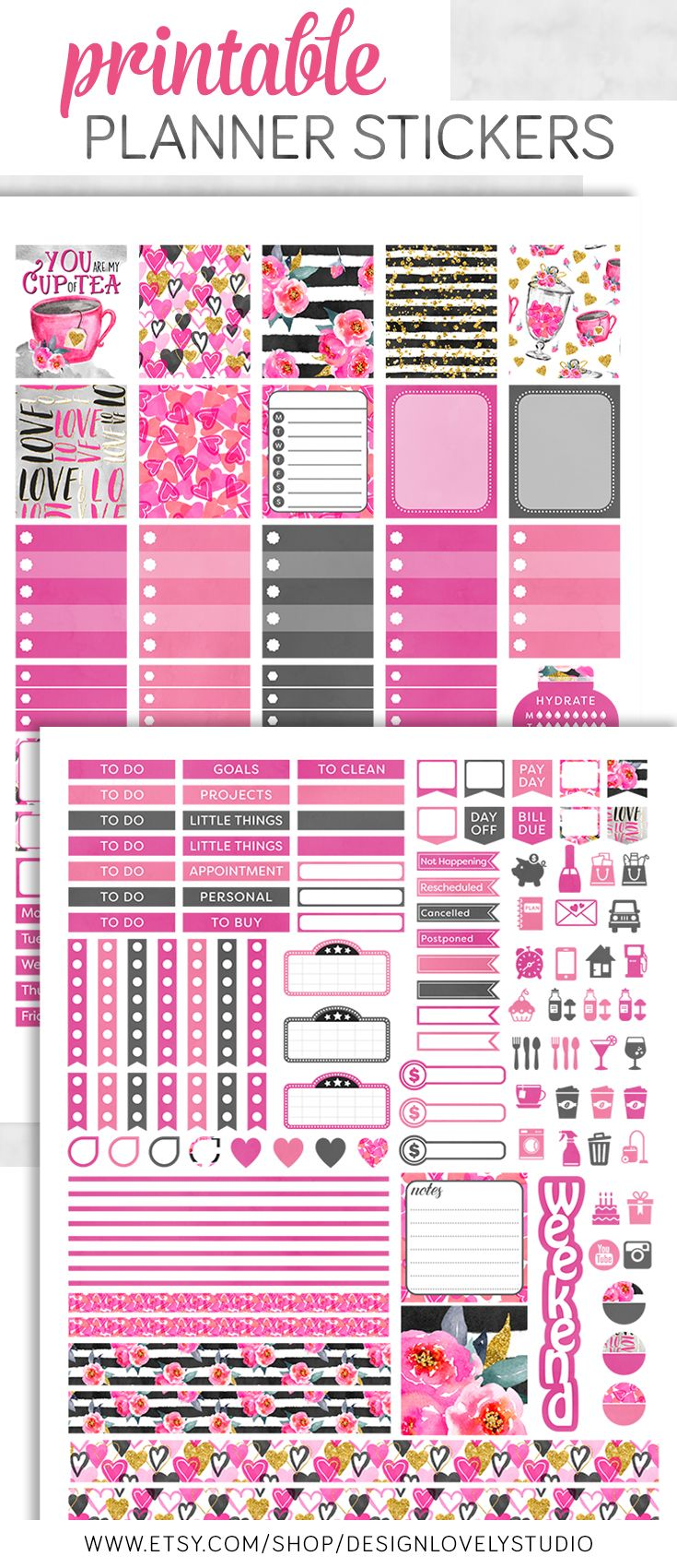 Mini Happy Planner ValentineS Day Planner Stickers Kit