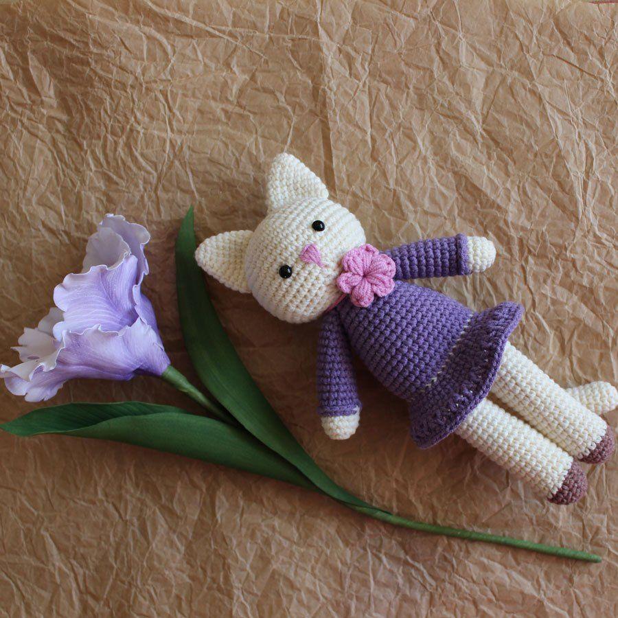 Gatito Amigurumi en vestido lila - patrón de ganchillo gratis ...