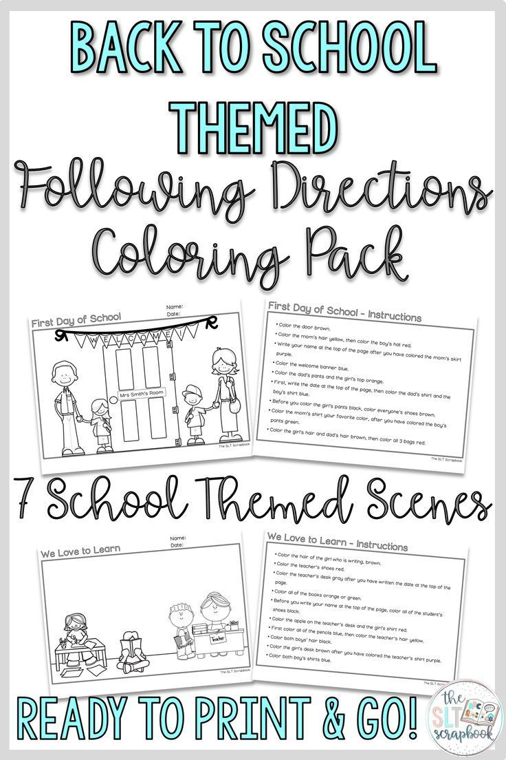 Back To School Following Directions Coloring Pack No Prep Slp