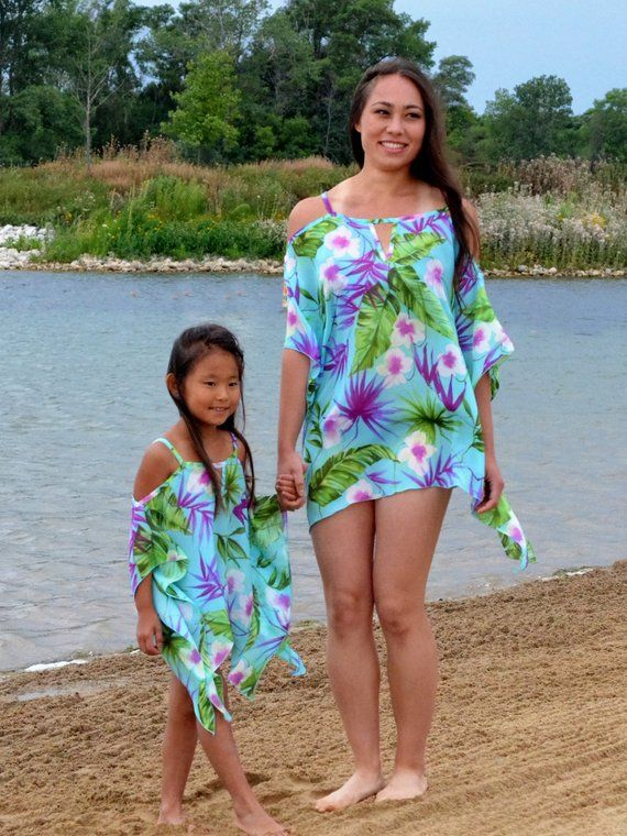 79121acca5 Hawaiian flower chiffon beach cover up,Tropical Floral Cover up, Mommy and  me, Cover up, vacation, b