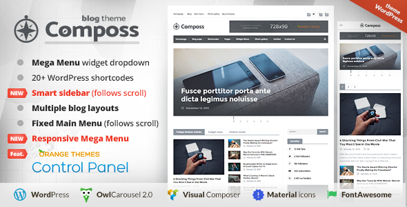 composs theme features responsive design more than 600 fonts from