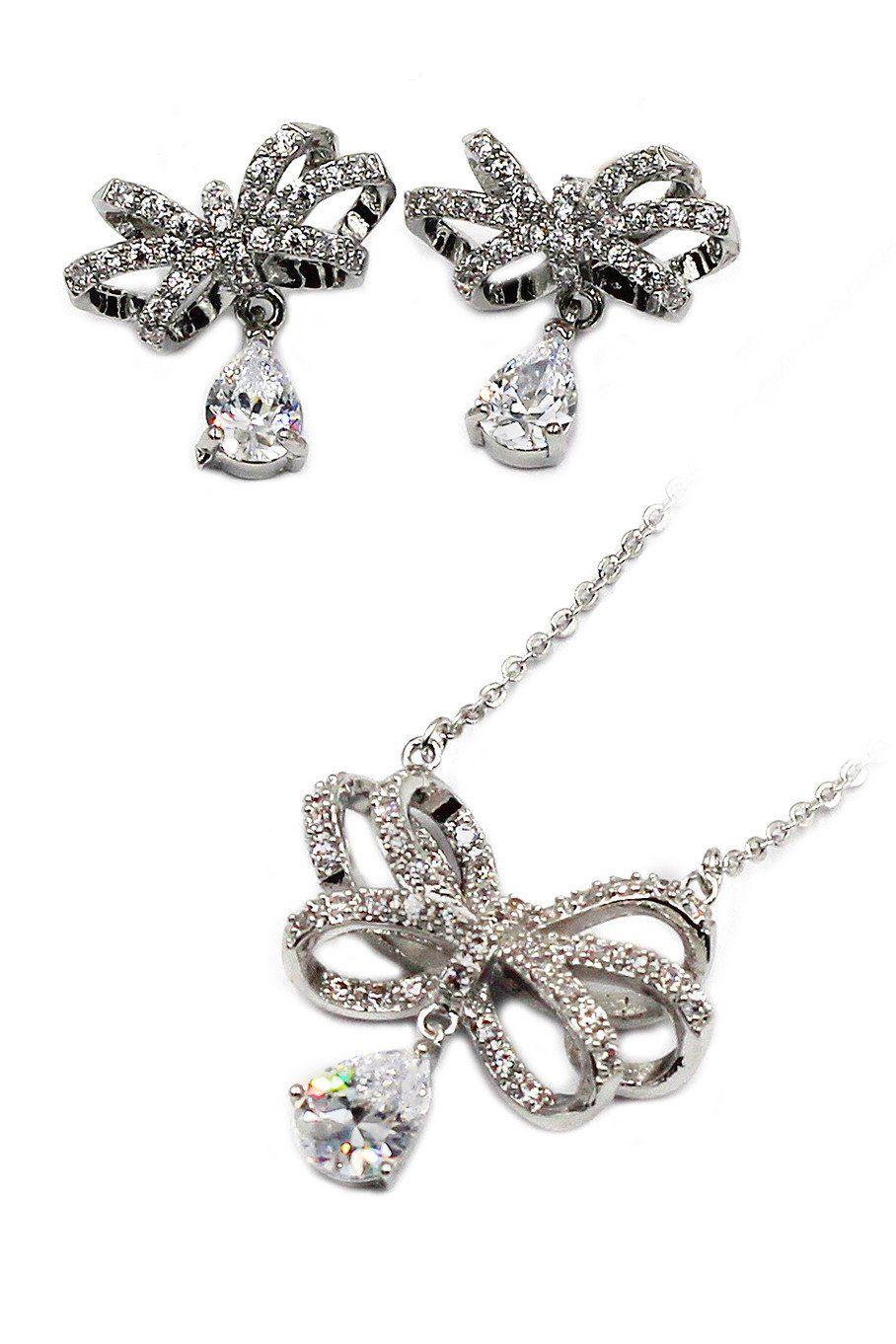 noble bowknot crystal pendant necklace earrings set