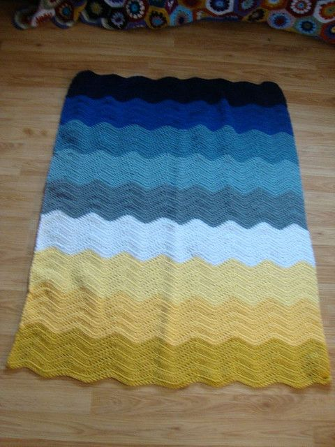 Full view of the crochet ripple blanket